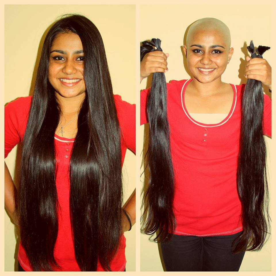this girl had beautiful long hair but chose to go bald. the reason