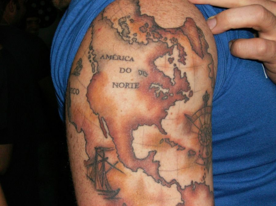 Old World Map Back Tattoo.  40 Travel Inspired Tattoos for the Wanderer in You