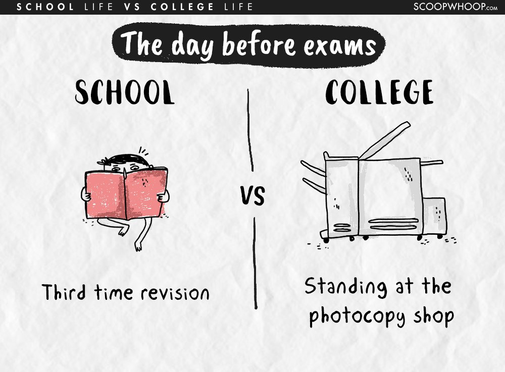 difference between school and college life