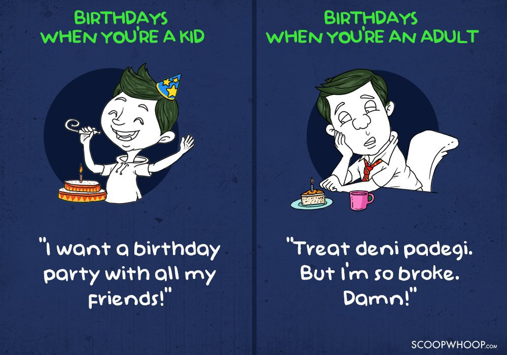 15 Hilarious Posters That Accurately Portray Birthday Expectations As A Kid Vs An Adult