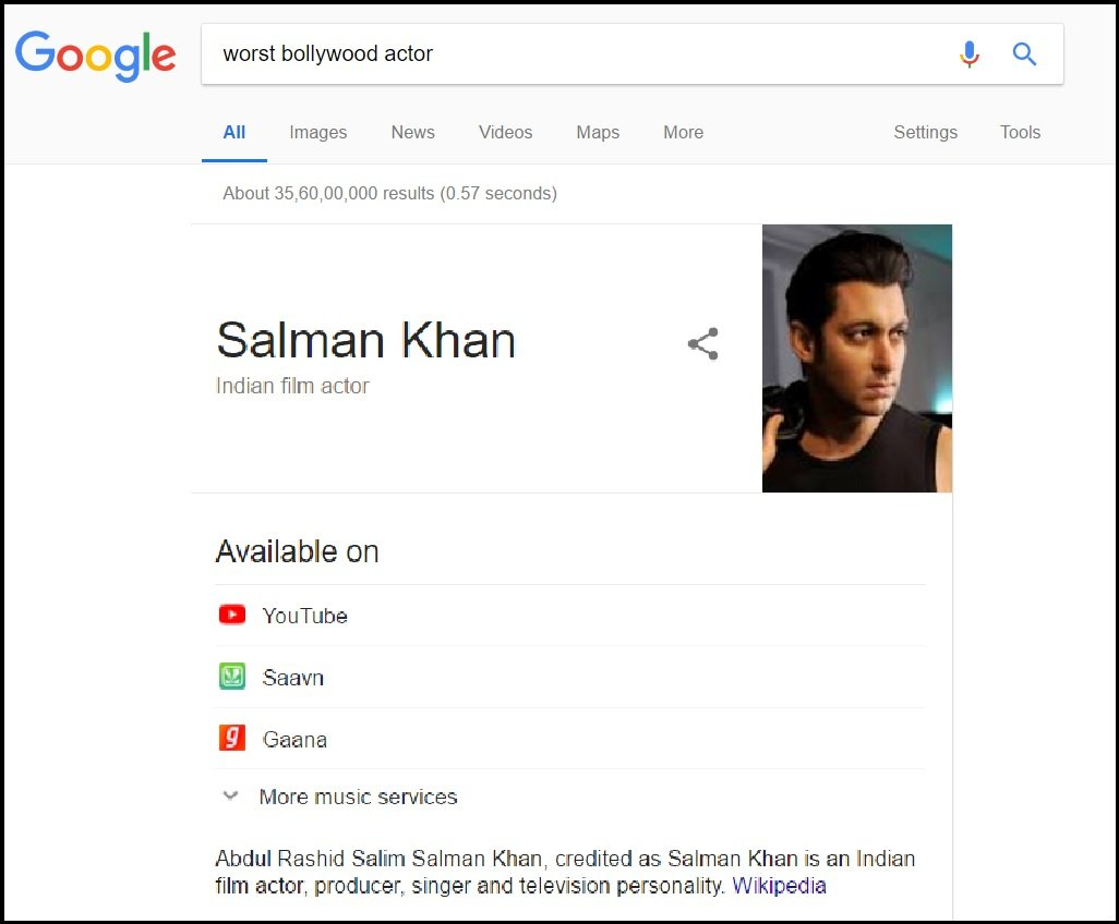 If You Search Worst Bollywood Actor On Google Guess Whose Name