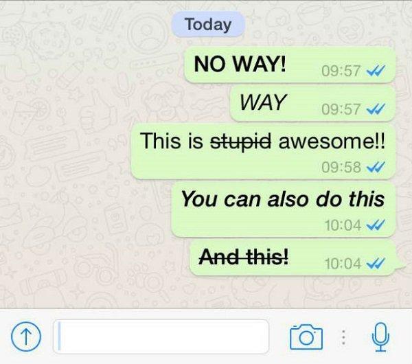 how to make italics on whatsapp