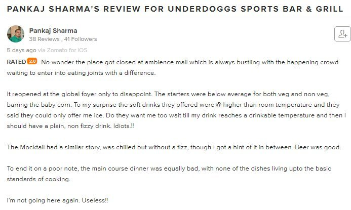 This Guy Gave Underdoggs A Bad Review On Zomato. He Wasn\'t Expecting ...