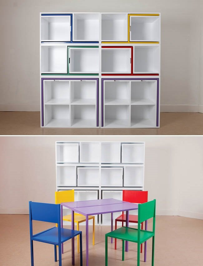 Try these cool shelves with sneaky slots for your chairs and tables for  when you need the space!