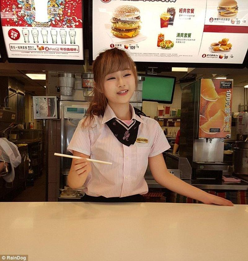 Hot Fast Food Restaurant Worker