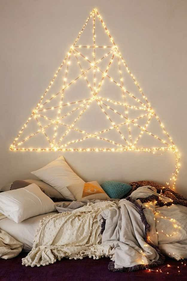 Easy Ways To Revamp Your Boring Room Into A Cozy Paradise With - Fairy lights in a bedroom