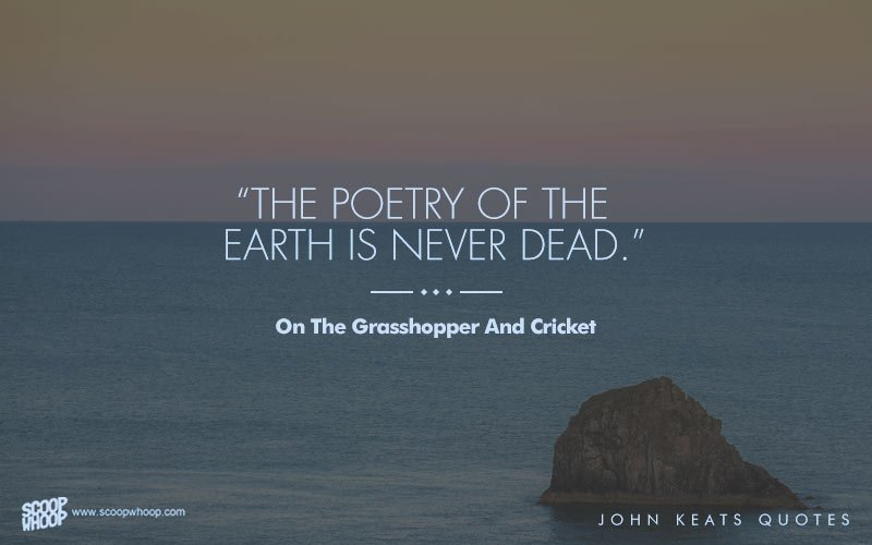 on the grasshopper and the cricket by john keats Keats's poem the grasshopper and the cricket explores how the beauty of nature persists and never relinquishes the speaker examines the progression of time through natural indicators.