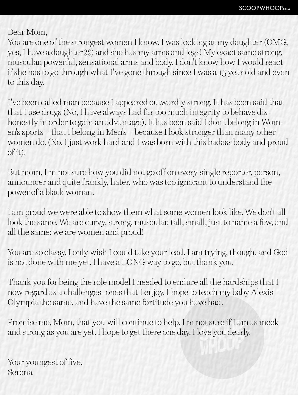 Serena williams heart warming letter to her mom is what all of us this is the complete text of the letter serena wrote to her mom which she shared on her reddit account aljukfo Images