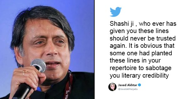Shashi Tharoor Makes A Ghalib Gaffe, Twice. Gets Schooled By Javed Akhtar