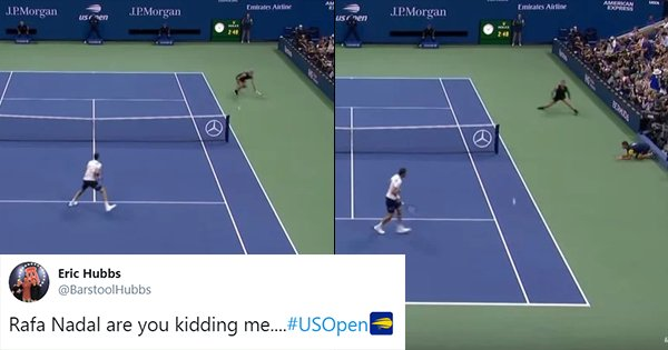 People Can't Believe Their Eyes As Rafael Nadal Pulls Off An Impossible, Around The Net Shot