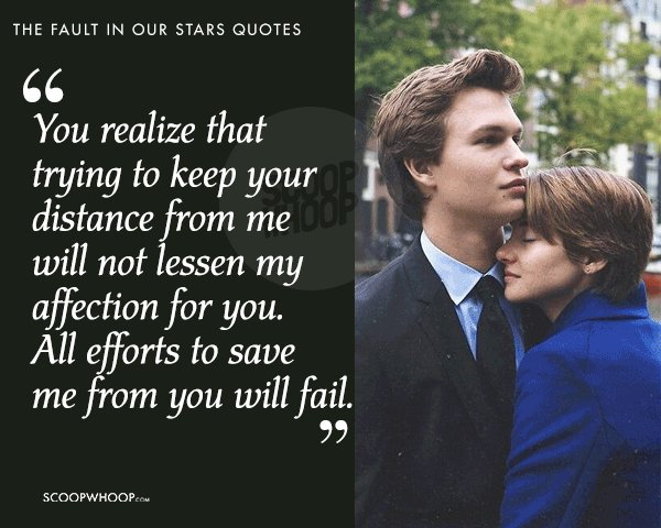 The Fault In Our Stars Quotes | 20 Quotes From The Fault In Our Stars About Love Pain