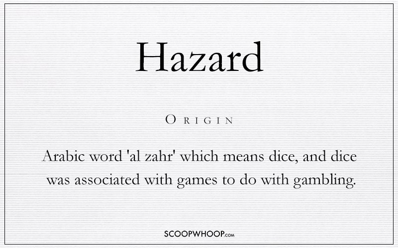 The Etymology Of This Word Lies With The Arabic Word Al Zahr Which Means Dice During The Crusades It Took On A Negative Connotation As Games With Dice