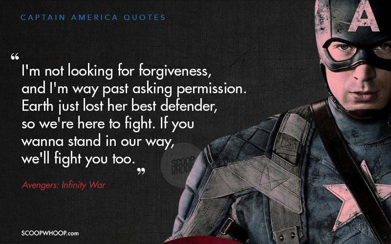 dialogues by avengers captain america that will remain you