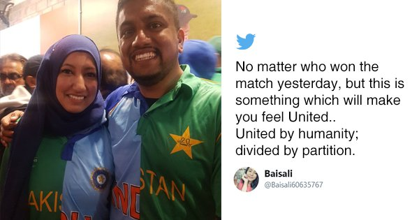 In The True Spirit Of Cricket, A Couple Wore Half-And-Half Indo-Pak Jerseys At Last Night's Match