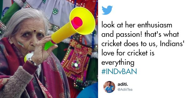 This Elderly Woman Cheering For India Shows That Love For Cricket Doesn't Come With An Age Limit