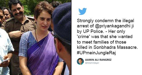 #UPmeinJungleRaj Trends After Police Detain Priyanka Gandhi On Her Visit To Firing Victims In UP