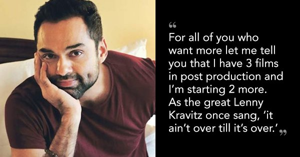 Abhay Deol's Insta Post Confirms We'll See More Of Him In Future. Our Prayers Have Been Answered