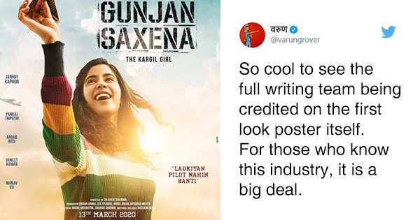First Look Of 'Gunjan Saxena' Credits Full Writing Team. Bollywood, Let's Make This The Norm?