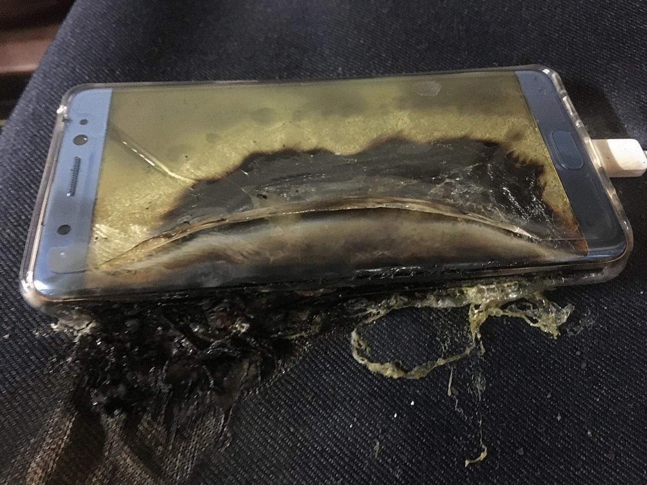 Phone caught fire