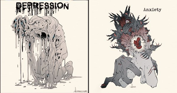 This Artist Shows Different Mental Health Disorders As Haunting Creatures Through Illustrations