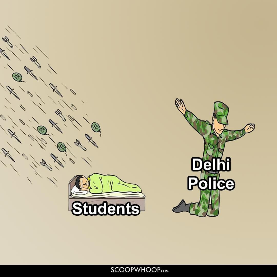 Students and Delhi Police