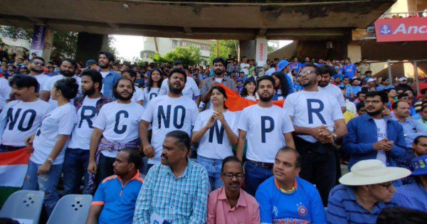 Students Wear T-Shirts Protesting The NRC, CAA At Ind. Vs Aus. Match, Wankhede. Get Escorted Out
