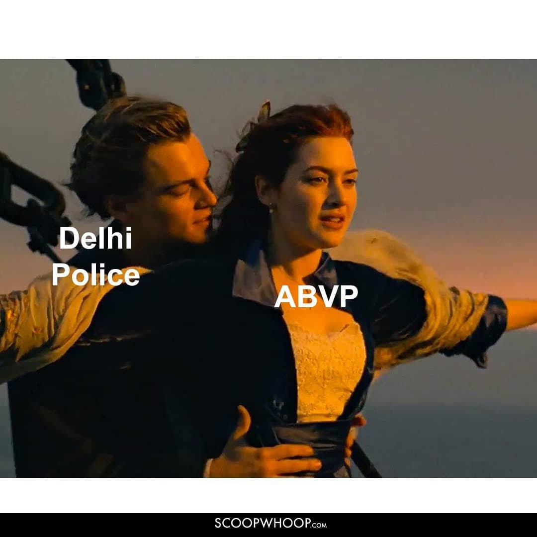 Delhi Police and ABVP meme