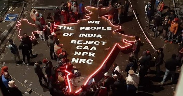 40-Foot, 300 Kg Iron Map Of India Erected At Shaheen Bagh To Protest Against CAA and NRC