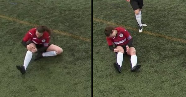 Twitter In Disbelief As Footballer 'Womans Up' and Slams Dislocated Knee Back In Place and Plays