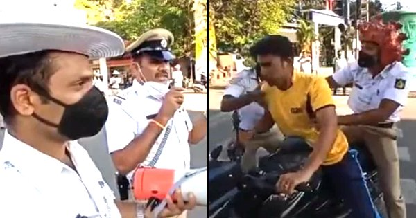Stay At Home Or Corona Will Get You: Traffic Policemen Do A Small Skit To Teach Social Distancing