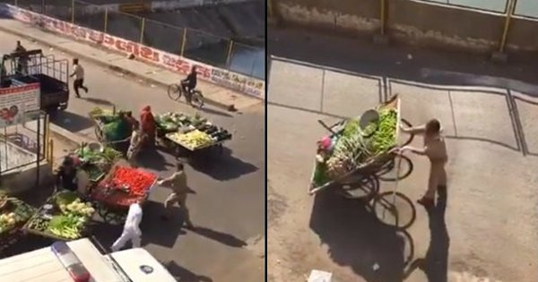 Ahmedabad Police Caught On Video Cruelly Toppling Vegetable Carts and Chasing Vendors