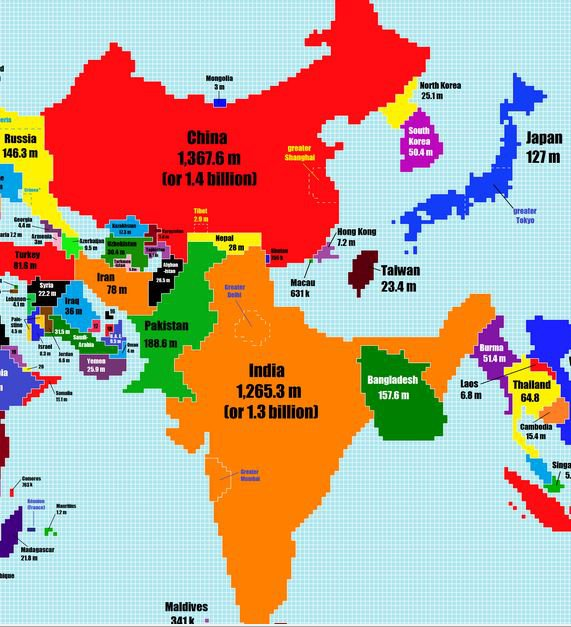 Someone re imagined the world map according to population and india india almost eclipses xis china here modi ji please ask sakshi maharaj and others who want more hindu children to rethink their plans gumiabroncs Choice Image
