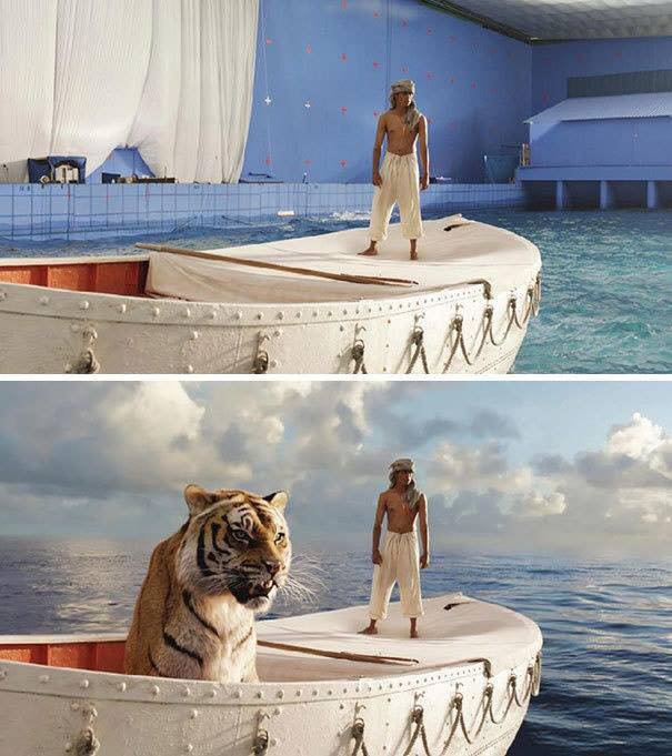 before and after pictures of movie scenes that show the  most parts of life of pi were shot in a swimming pool