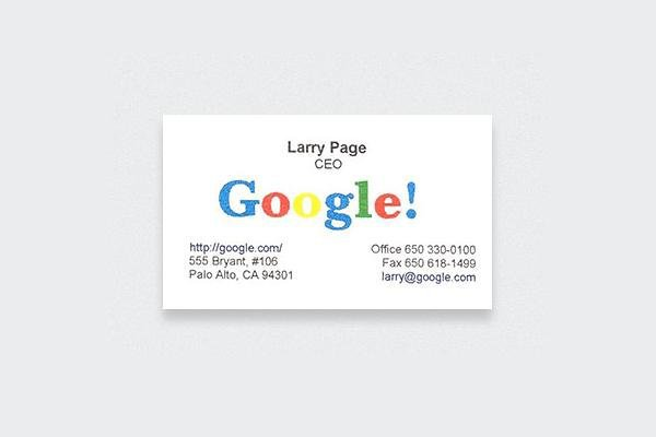 Check out these actual business cards of the worlds most famous people 5 larry page colourmoves