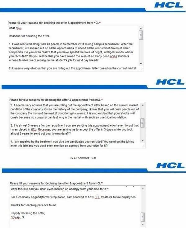 hcl sent her a recruitment letter after 3 years her response was